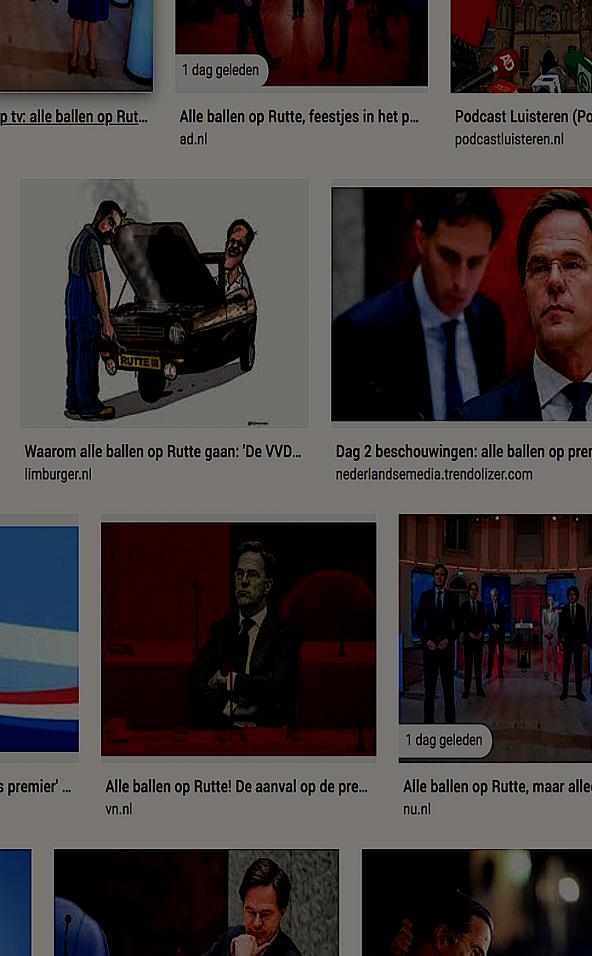 Schermafbeelding zoekresultaten bij de term 'Alle Ballen op Rutte'